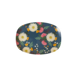 Rice Small Melamine Rectangular Plate - Wedding Bouquet Print