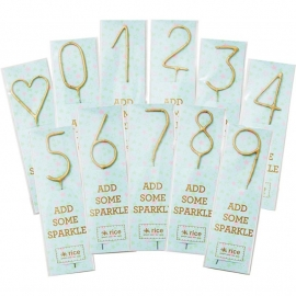 Rice Golden Sparklers in Assorted Numbers from 0-9 and Hearts