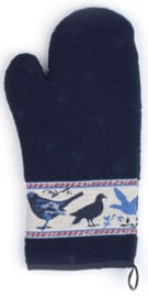 Bunzlau Oven Glove Birds Dark Blue