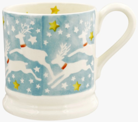 Emma Bridgewater Reindeer in the Sky 1/2 Pint Mug -blok sponge ware-