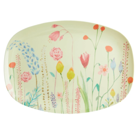 Rice Melamine Rectangular Plate - Summer Flower Print