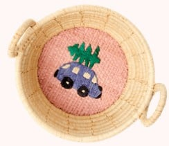 Rice Raffia Mini Basket with Car with Xmas Tree Embroidery