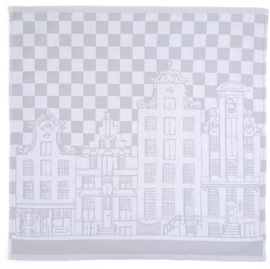 Bunzlau Tea Towel Canal Houses Grey