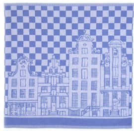 Bunzlau Tea Towel Canal Houses Royal Blue