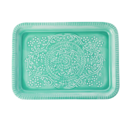 Rice Metal Tray with Embossed Details - Aqua / Green