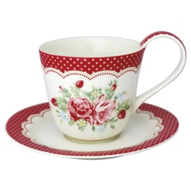 GreenGate Cup & Saucer Mary white -stoneware-