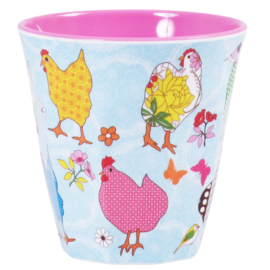 Rice Medium Melamine Cup - Two Tone - Hen Print