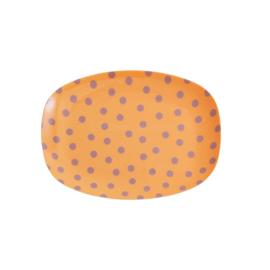 Rice Small Melamine Rectangular Plate - Lavender Dot Print