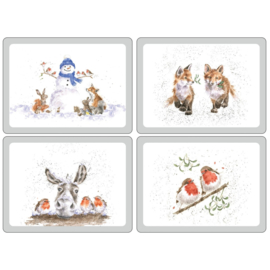 Wrendale Designs Set of 4 Large Christmas Placemats