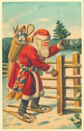 Meander Ansichtkaart Kerstman bij Hek
