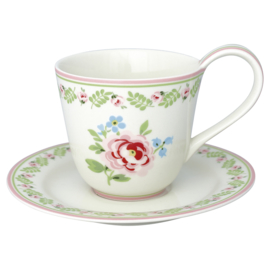 GreenGate Cup & Saucer Lily petit white  -stoneware-