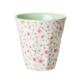 Rice Medium Melamine Cup with White Spring Flower Print