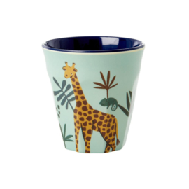 Rice Kids Small Melamine Cup with Blue Jungle Animal Print