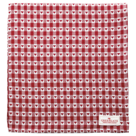 GreenGate Tablecloth Heart petit red 150 x 150 cm