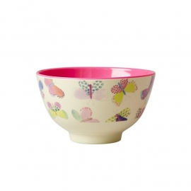Rice Small Melamine Bowl Two Tone with Butterfly Print