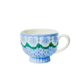 Rice Ceramic Mug with Embossed Blue Flower Design