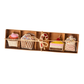 Rice Fabric Ornaments in box - set of 5
