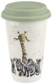 Wrendale Designs Travel Mug 'Head and Shoulders' -giraffe en zebra's-