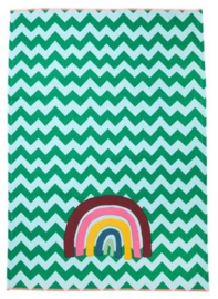 Rice Tea Towel - Zig Zag Rainbow Print - Neon Piping