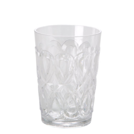 Rice Acrylic Tumbler with Swirly Embossed Detail - Clear