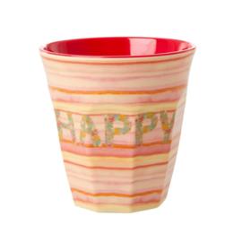 Rice Medium Melamine Cup with Happy Pink Print