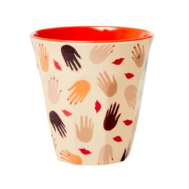 Rice Medium Melamine Cup - Hands and Kisses Print