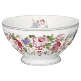 GreenGate French Bowl Extra Large Rose white -stoneware-