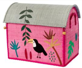 Rice Raffia Toy Baskets Pink Jungle - small