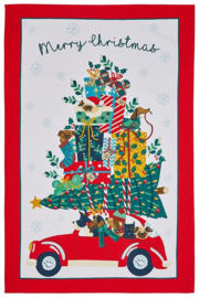 Ulster Weavers Cotton Tea Towel Hound Dog Going Home for Christmas