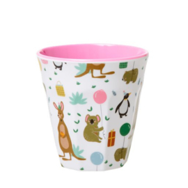 Rice Kids Small Melamine Cup with Party Animals Print - Pink