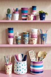 Rice Solid Colored Medium Melamine Cup in Navy Blue