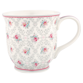 GreenGate Tea Mug Daisy Pale Grey -stoneware-