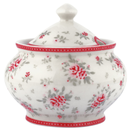 GreenGate Sugar Pot Flora White -stoneware-