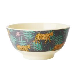 Rice Medium Melamine Bowl - Leopard and Leaves Print