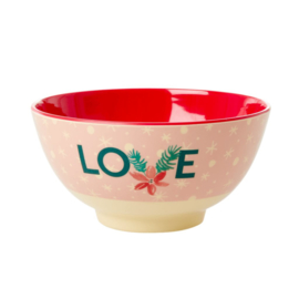Rice Medium Melamine Bowl - Love Xmas Print *vernieuwd model*