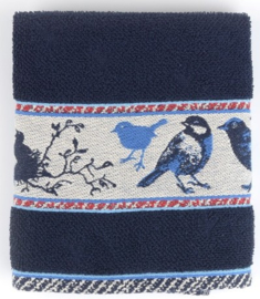 Bunzlau Kitchen Towel Birds Dark Blue