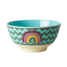 Rice Medium Melamine Bowl - Zig Zag Rainbow Print