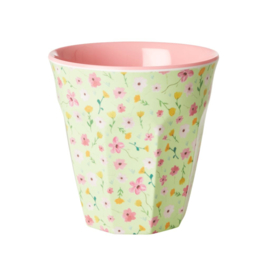 Rice Medium Melamine Cup with Green Easter Flower Print