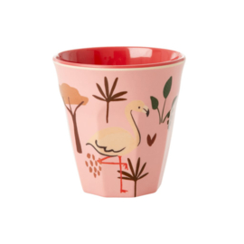 Rice Kids Small Melamine Cup with Pink Jungle Animal Print