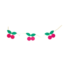 Rice Raffia Party Garland with Cherries in Red - 150 cm