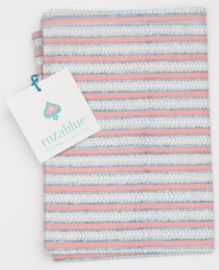 Rozablue Theedoek Funky Stripes roza & blue