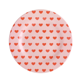 Rice Melamine Side Plate with Sweet Hearts Print (bord met rand)
