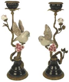 Meander Kandelaar met Vogel en Bloemen -messing & porselein-