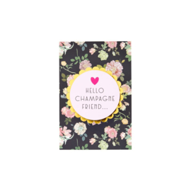 Rice Post Card Dark Rose Print 'Hello Champagne Friend'