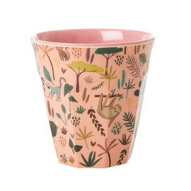 Rice Medium Melamine Cup with Coral All Over Jungle Animals Print