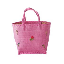 Rice Raffia Bag in Pink with Flowers Embroidy - Medium