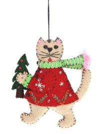 Meander Kat bruin met kerstboom -vilt-