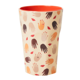 Rice Tall Melamine Cup - Hand & Kisses Print