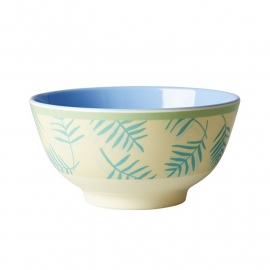 Rice Melamine Bowl Two Tone with Palm Leave Print