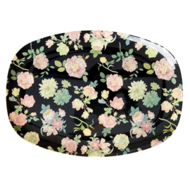 Rice Melamine Rectangular Plate - Dark Rose Print